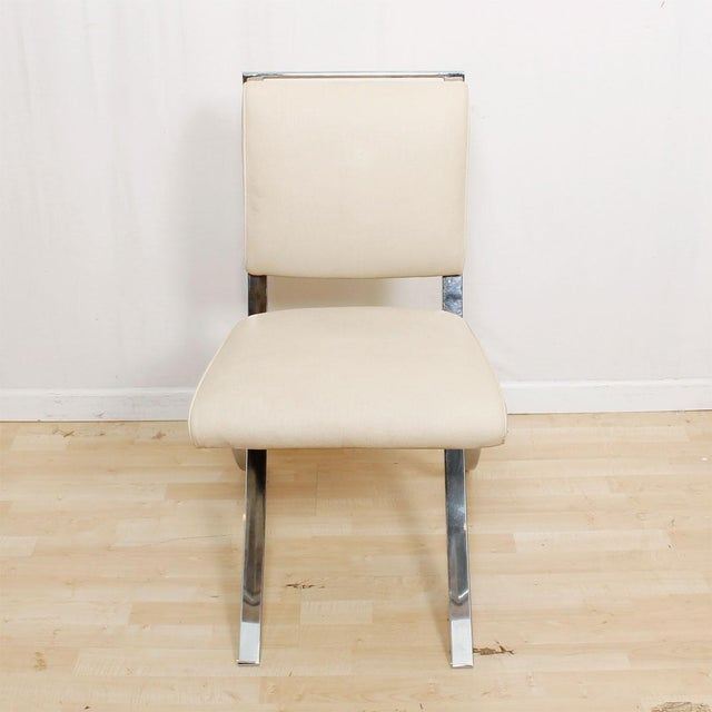 Barcelona Style Chrome & White Chairs - Set of 4 - Image 3 of 8