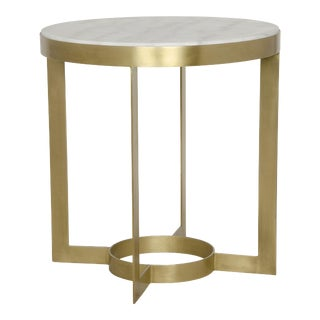 Parker Side Table in Antique Brass, Metal and Quartz For Sale