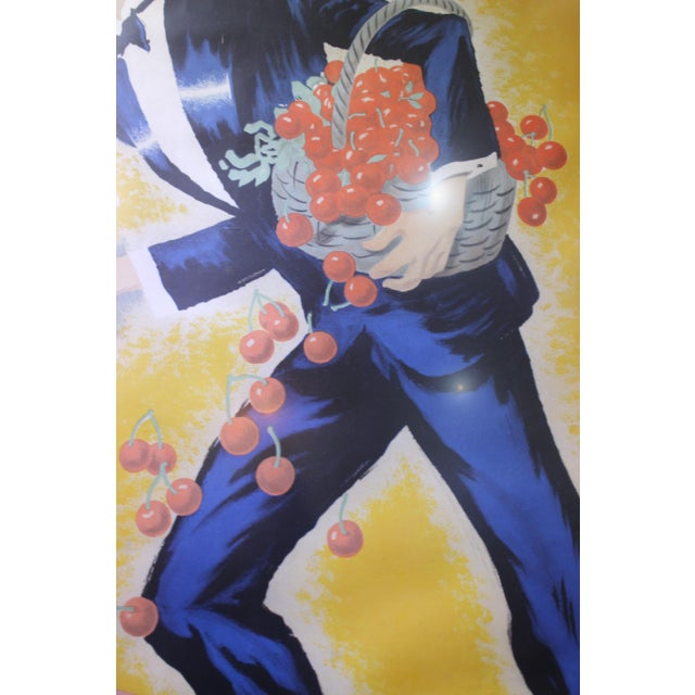 "Cherry Brandy Maurice Chevalier 70"" Lithographic Poster by Roger De Valerio 1935 For Sale - Image 9 of 12"