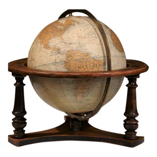 20th Century French Globe on Walnut Base From Girard Barrere Et Thomas, Paris For Sale