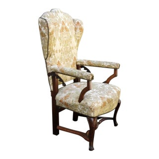 18th Century French Provincial Wingback Upholstered Reclining Chair For Sale