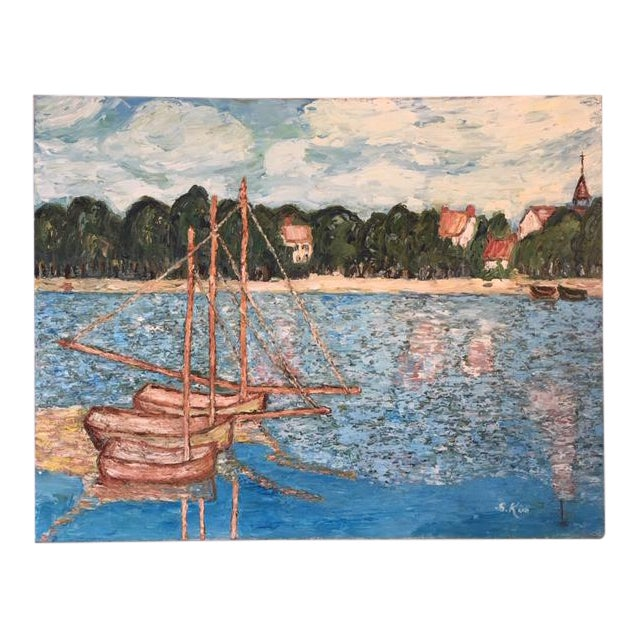 Vintage Mid-Century S. Kim Impressionist Inspired Seascape Oil Painting For Sale
