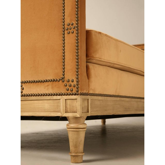 Brass Custom Old Plank Upholstered Daybed For Sale - Image 7 of 9