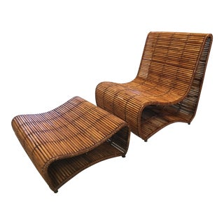 1960s Vintage Bamboo Chair and Ottoman For Sale