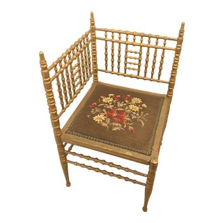 Late 19th Century Vintage Heywood Wakefield Faux Bamboo Gilded Victorian Corner Chair For Sale
