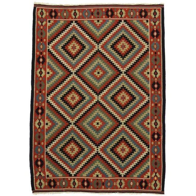 Vintage Turkish Kilim Rug With Southwest Style Flat-Weave Rug - 6′11″ × 9′8″ For Sale - Image 4 of 4