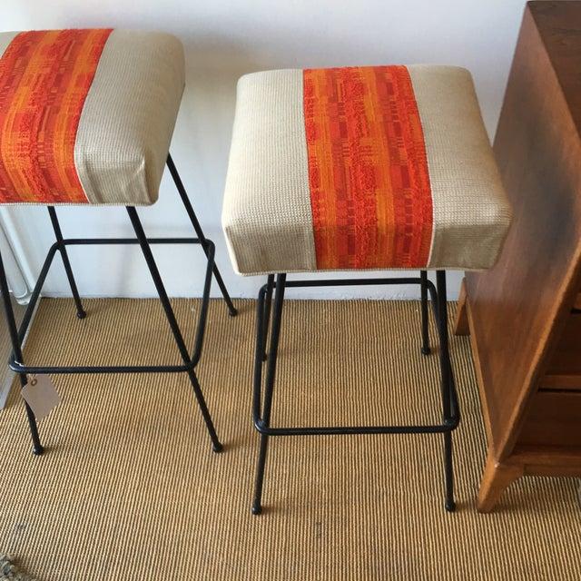 1950s Orange Striped Barstools - A Pair - Image 5 of 9