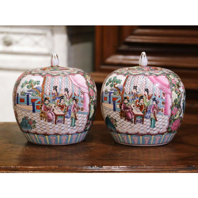 Mid-Century Chinese Famille Rose Porcelain Melon Jars - a Pair For Sale - Image 11 of 11