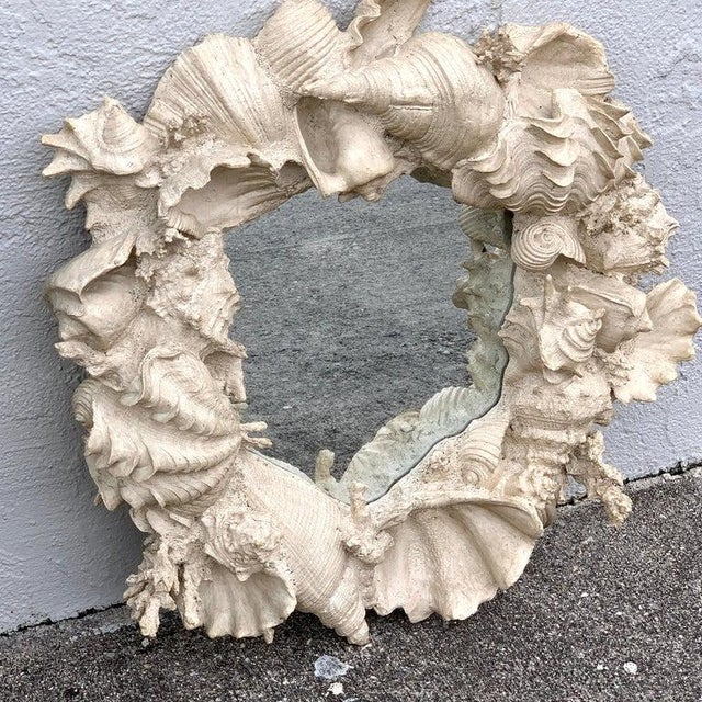 Naturalistic Coral and Shell Motif Porthole Mirror For Sale - Image 4 of 12