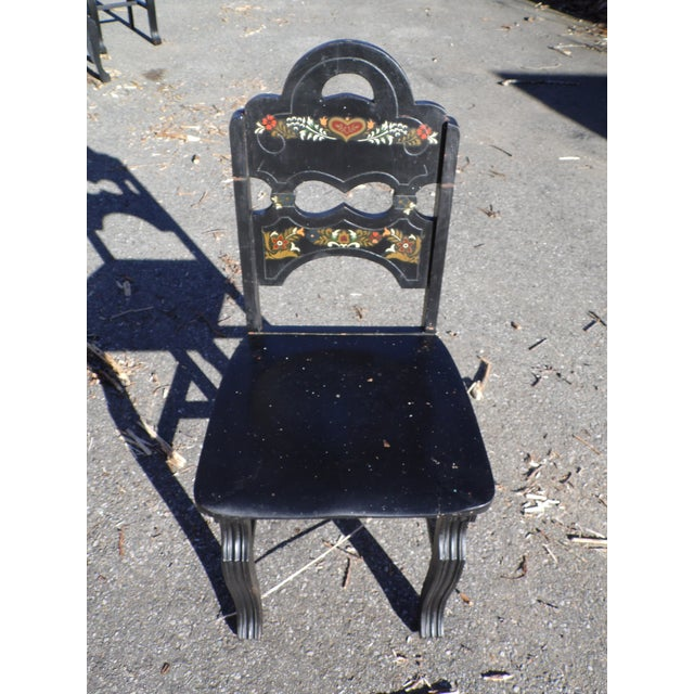 Vintage Set of 4 Art Deco Black Painted Amish Folk Art Style Dining Chairs For Sale - Image 10 of 12