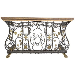 Iron, Brass and Bronze Decorative Console Table For Sale