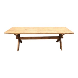 Antique Country French Rustic Dining Table With Stretcher and X Base For Sale