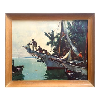 "Anthony Thieme Mid Century 1950's Framed Lithograph Print "" Southern Waters Nassau "" For Sale"