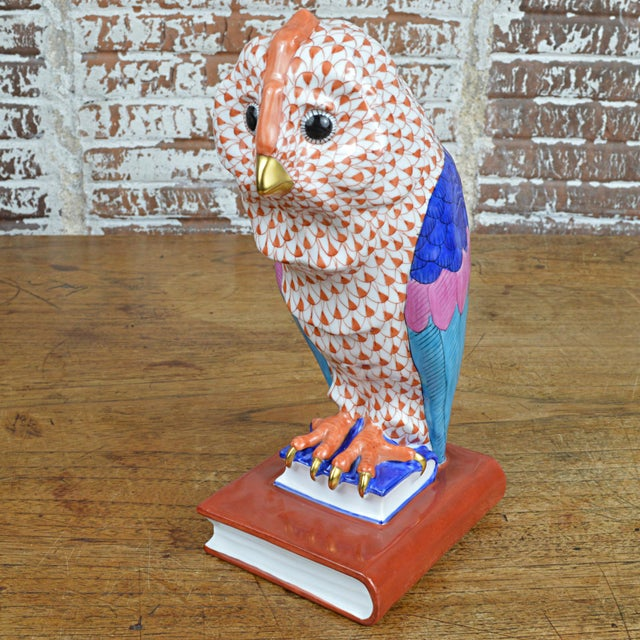 Ceramic Herend Porcelain Owl on Books, Facing Right For Sale - Image 7 of 11