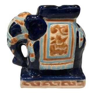 1970s Vintage Ceramic Chinoiserie Elephant For Sale
