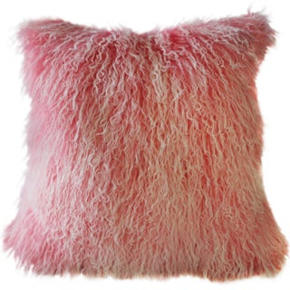 Frosted Pink Mongolian Sheepskin Pillow For Sale