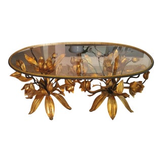 Italian Gilt Tole Floral Coffee Table For Sale