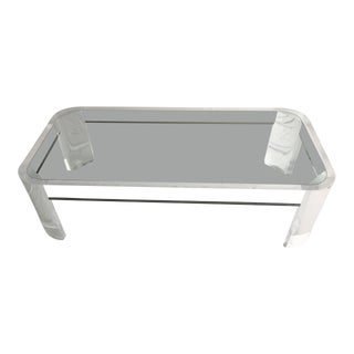 1970s Vintage Steve Chase Style Lucite & Glass Coffee Table For Sale