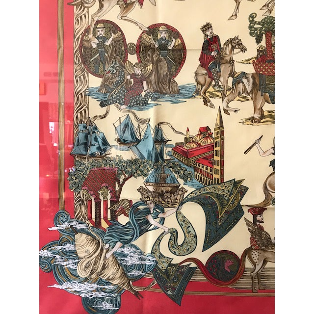 French Hermes French Silk Scarf Framed Art For Sale - Image 3 of 7