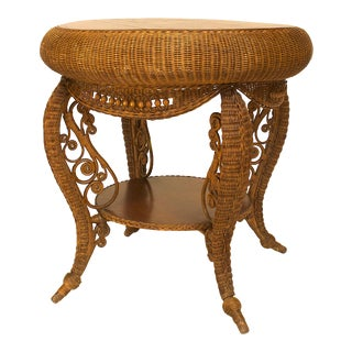 American Victorian Natural Wicker Oak Top Table For Sale