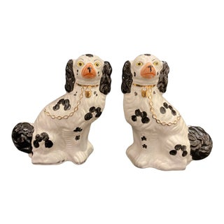 Vintage Early 20th Century English Staffordshire Black and White Dog Figurines - a Pair For Sale