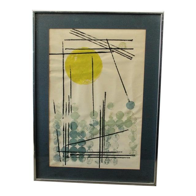 Vintage Abstract Expressionist Monoprint - Image 1 of 7