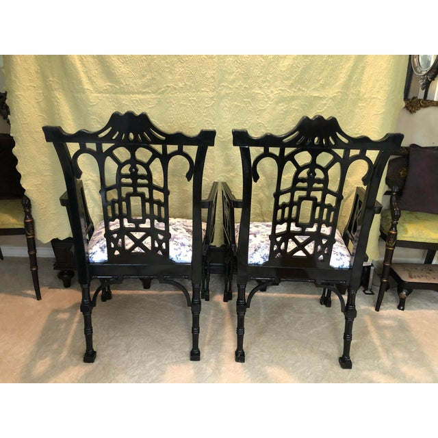 Faux Bamboo Pagoda Armchairs- A Pair For Sale - Image 9 of 12