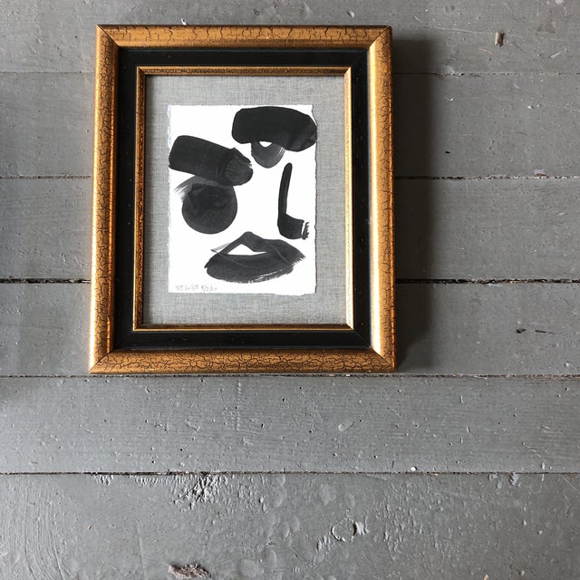 2020s Original Contemporary Robert Cooke Abstract Face Painting Vintage Frame For Sale - Image 5 of 5