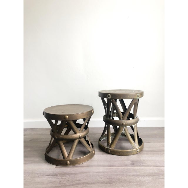 1960s Boho Chic Brass Drum Table For Sale In Los Angeles - Image 6 of 7