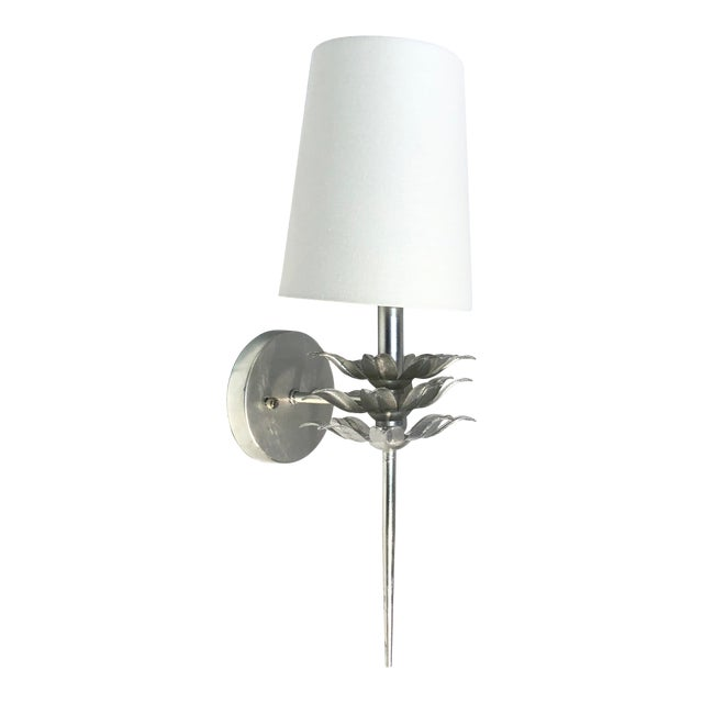 Worlds Away Delilah Silver Leaf One Arm Wall Sconce For Sale