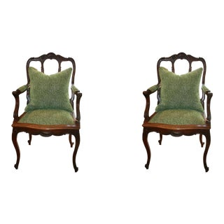 Louis XV French Mahogany Chairs, 1890s - A Pair