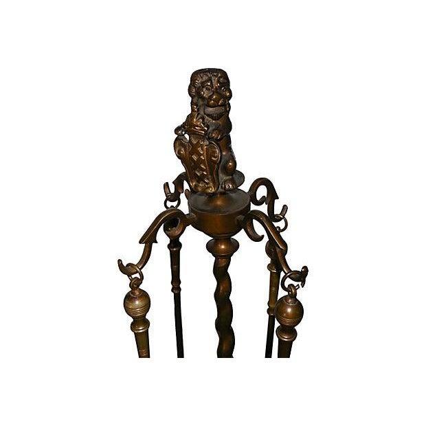 Antique Bronze Lion Fireplace Set - Image 4 of 7