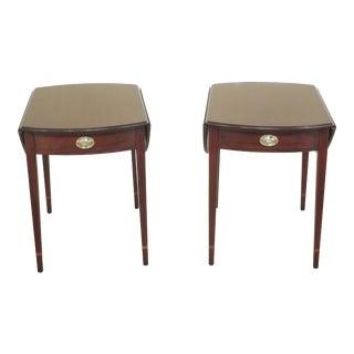 1990s Vintage Henkel Harris Mahogany Pembroke End Tables- A Pair For Sale