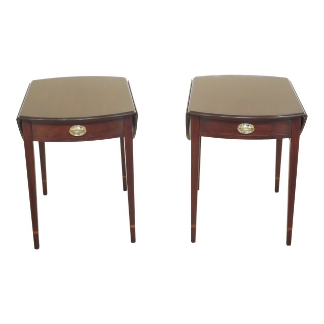 1990s Vintage Henkel Harris Mahogany Pembroke End Tables- A Pair For Sale
