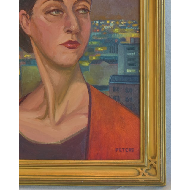 """Artist Tony Peters Female Portrait """"Off Broadway"""" Framed Oil Painting For Sale - Image 4 of 9"""