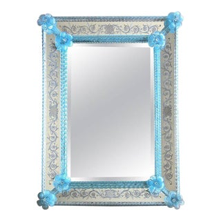 Murano Venetian Blue Floral Etched Wall Mirror For Sale