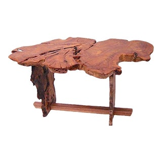 American Elm Root Live Edge Slab Table For Sale