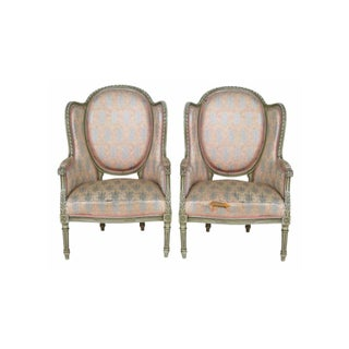 Louis XVI Style Distressed Painted Bergeres - Pair For Sale