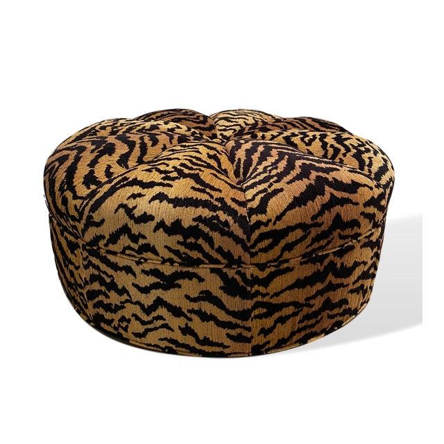 Italian Silky Tiger Woven Heavy Chenille Ottoman For Sale - Image 4 of 10