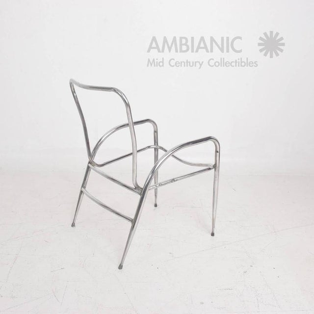 Mid-Century Modern Pair of Sculptural Brown Jordan Aluminum Patio Chairs After Walter Lamb For Sale - Image 3 of 10