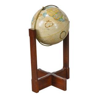 "Replogle Vintage 16"" World Classics Series Oak & Brass Floor Globe For Sale"