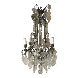 French Four Light Chandelier With Cut Crystal Prisms For Sale
