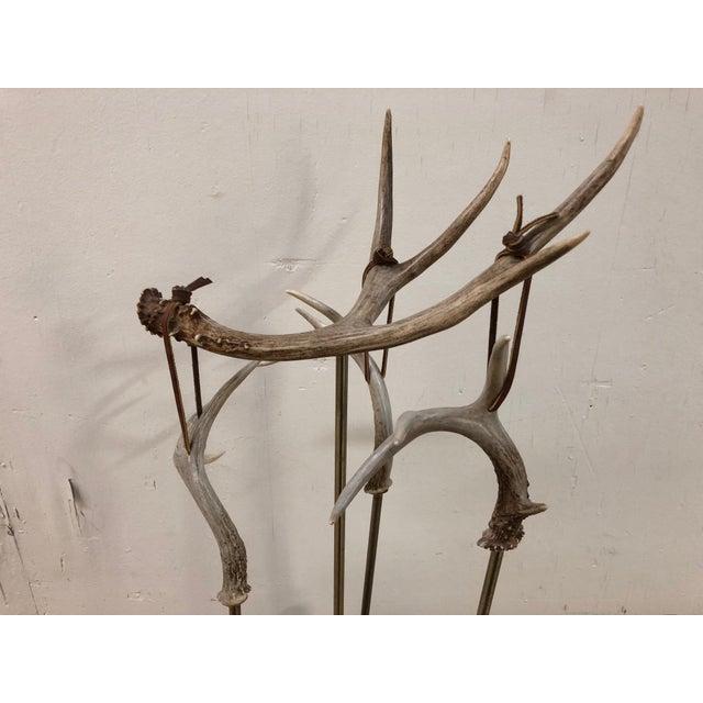 Custom Made Antler Fireplace Set For Sale - Image 4 of 11