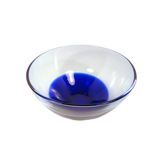 1980s Hand Blown Crystal Glass Bowl in Clear and Cobalt Blue Crystal For Sale
