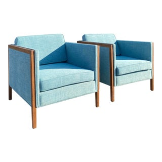 Vintage 1970s American Oak and Aqua Tweed Lounge Chairs - a Pair For Sale