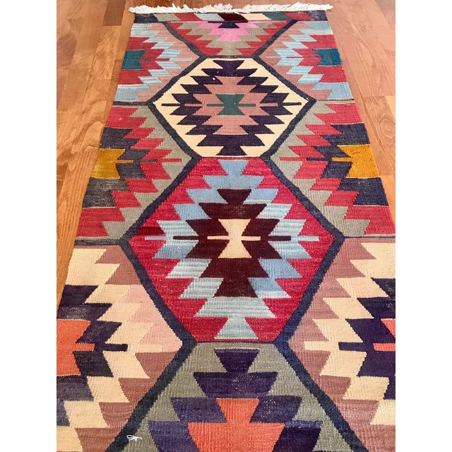 "Vintage Turkish Kilim -2'2"" 6'3"" For Sale - Image 4 of 11"