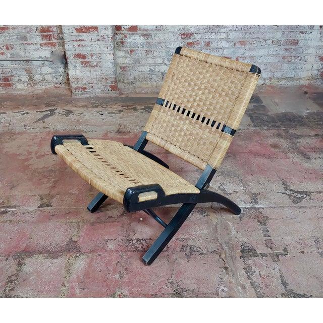 Vintage Hans Wegner Woven Rope Folding Chair For Sale - Image 10 of 10