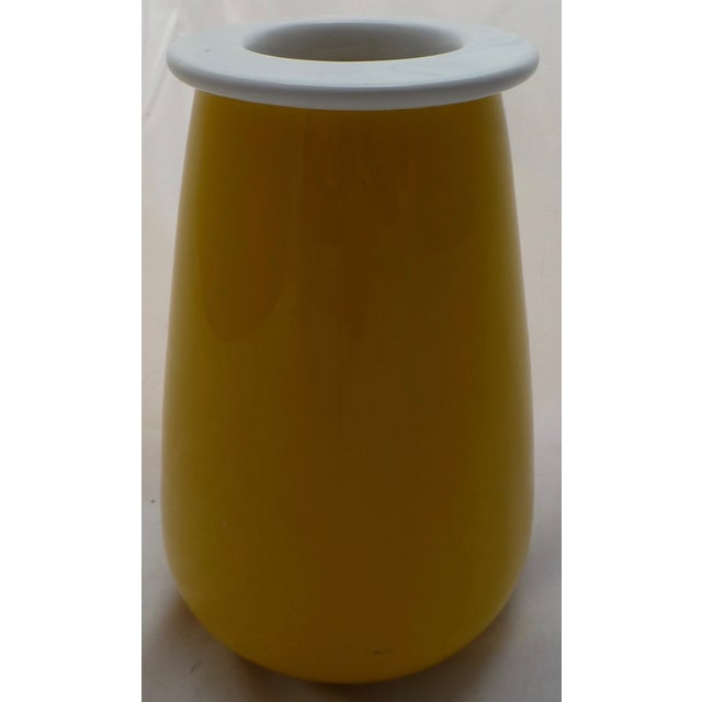Italian Sunshine Yellow Italian Pottery Vase For Sale - Image 3 of 11