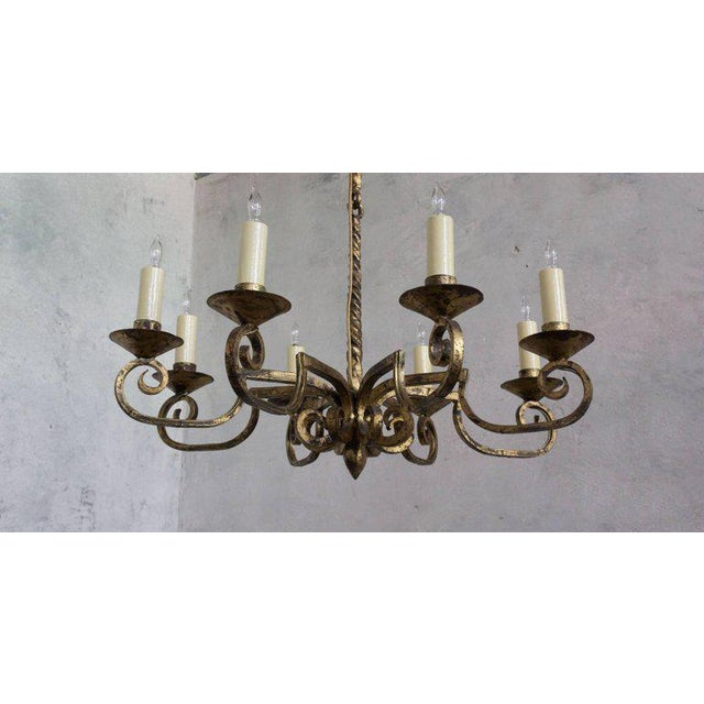 Gold Unusual Spanish 19th Century Eight-armed Chandelier With Twisted Metal Stem For Sale - Image 8 of 10