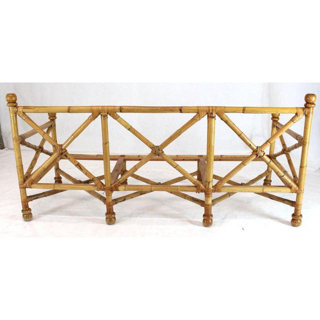 Decorative solid thick bamboo midcentury sofa frame.